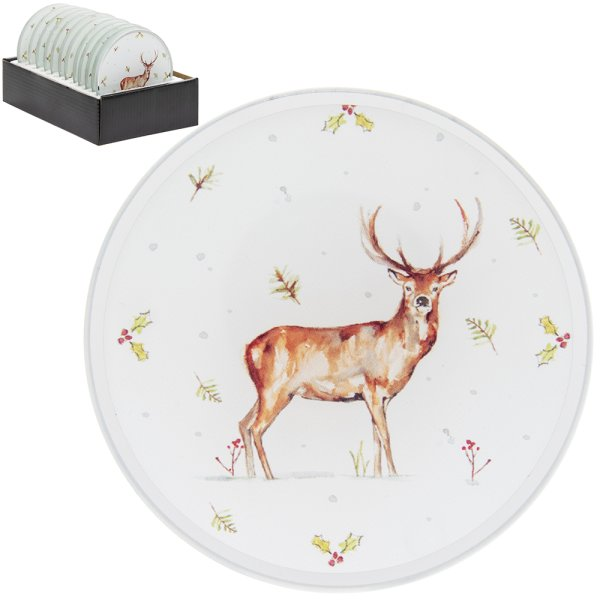 WINTER STAGS CANDLE PLATE 10CM