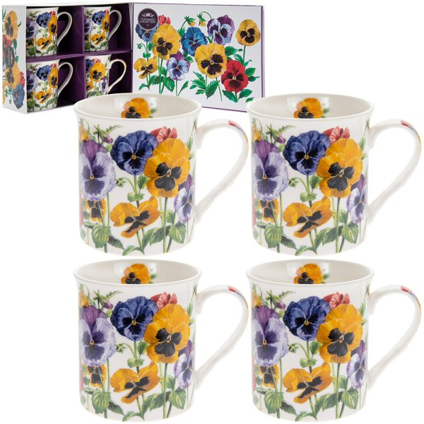 PANSY MUGS SET 4
