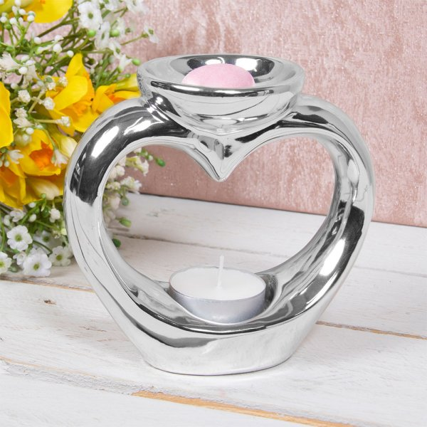 WAX/OIL WARMER HEART SILVER