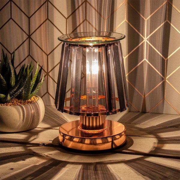 AROMA LAMP RSEGOLD BLK CRYSTAL