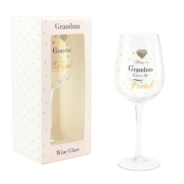MAD DOTS GRANDMA WINE GLASS