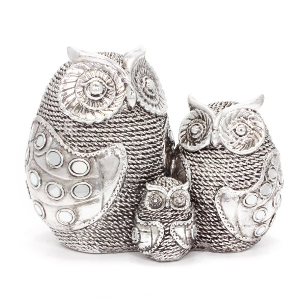 SILVER ART OWL FAMILY