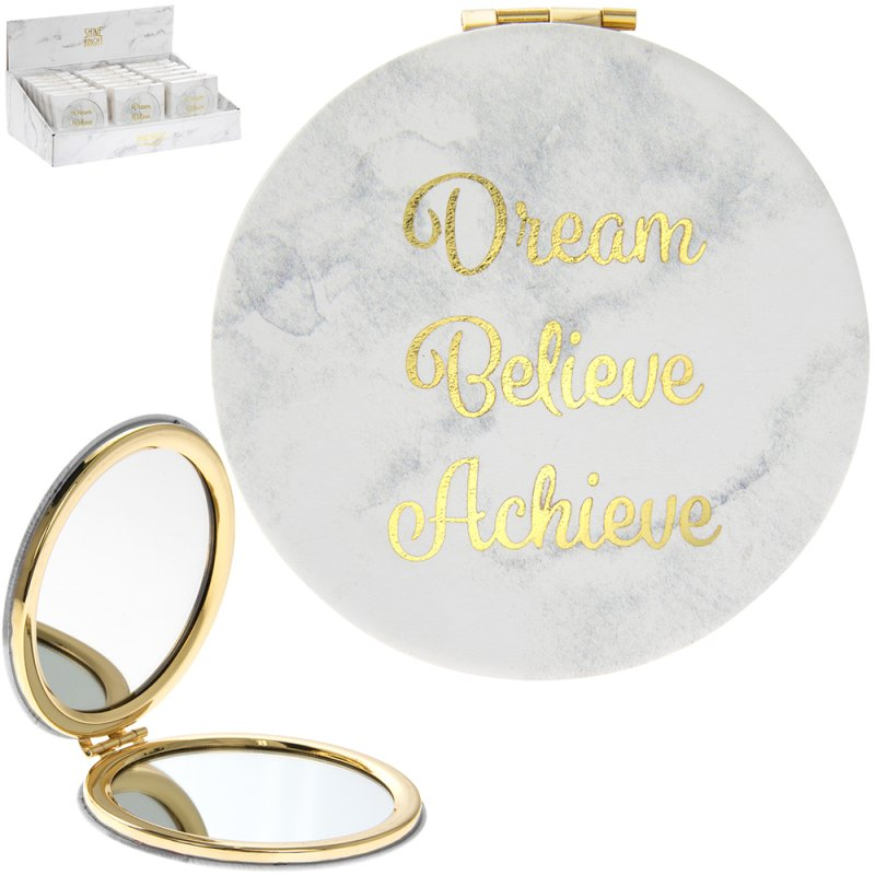 MARBLE WHITE COMPACT MIRROR