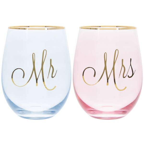 MR & MRS STEMLESS GLASSES