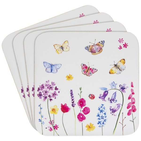 BUTTERFLY GARDEN COASTERS SET4