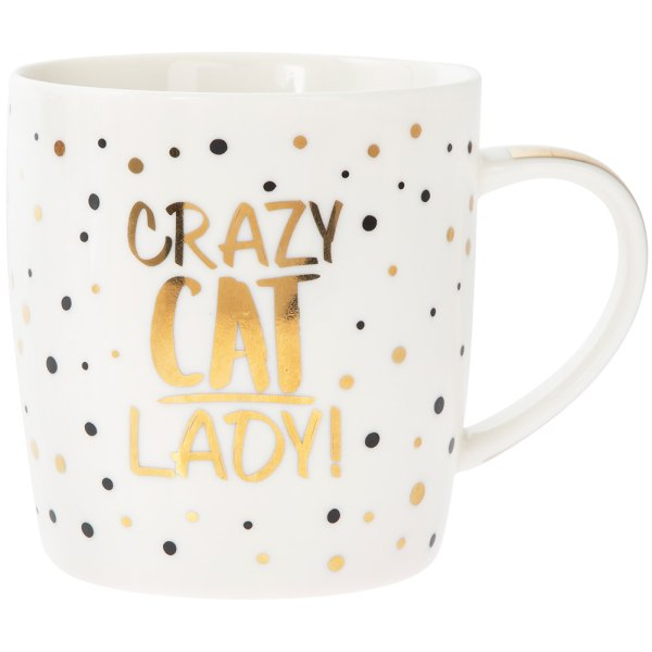 GOLD CRAZY CAT LADY MUG