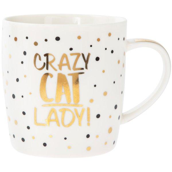 GOLD CRAZY CAT LADY MUG