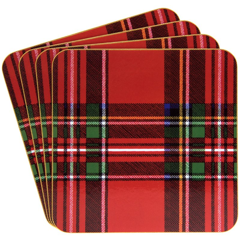 TARTAN COASTERS SET OF 4
