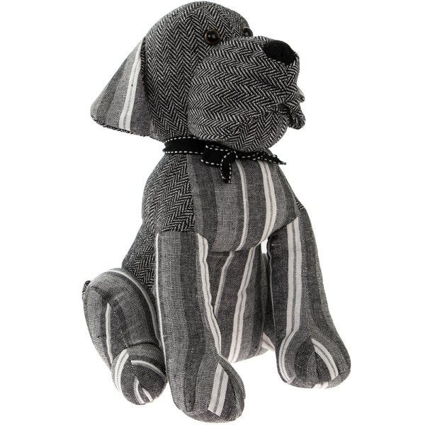 GREY STRIPES DOG DOORSTOP
