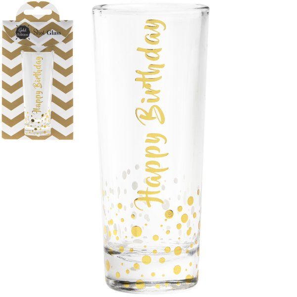 GOLD SHOT GLASS HAPPY BIRTHDAY