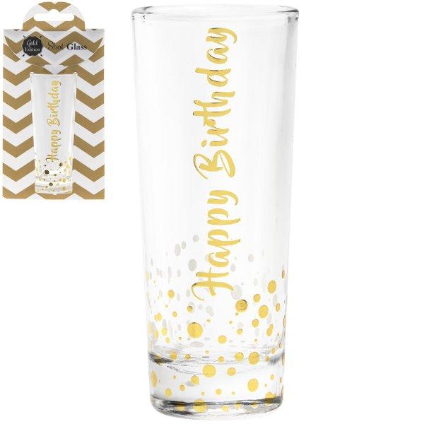 GOLD SHOT GLASS HAPPY BIRTHDAY