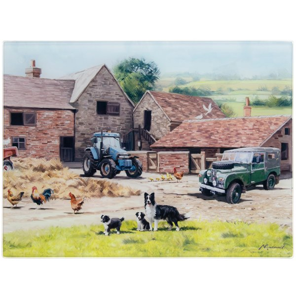 FARMYARD GLASS CUTTING BOARD