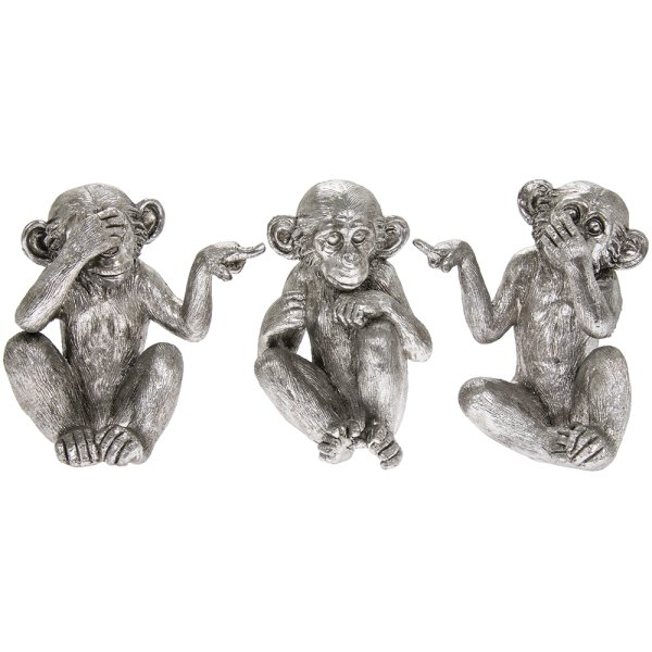 SILVER ART THREE WISE MONKEYS