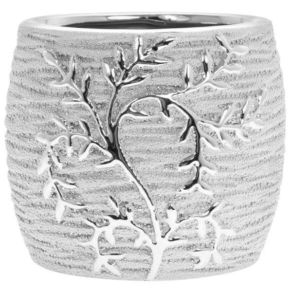 SILVER ART LEAVES PLANTER 13CM