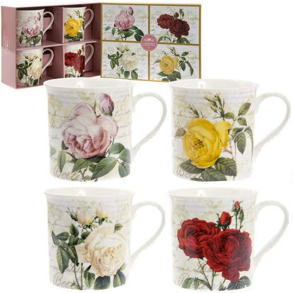 ROSES MUGS SET OF 4