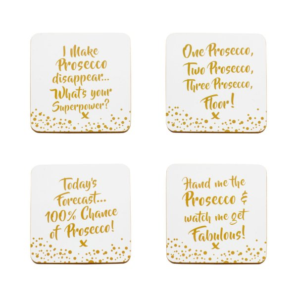 PROSECCO COASTERS SET OF 4