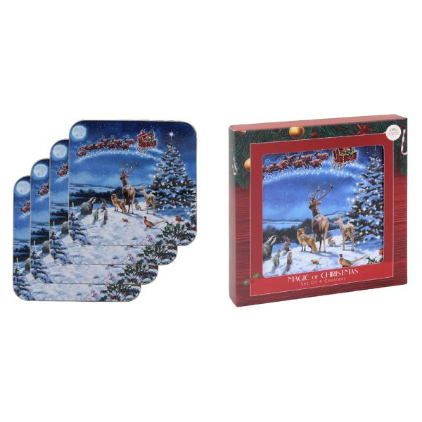MAGIC OF XMAS COASTERS SET 4
