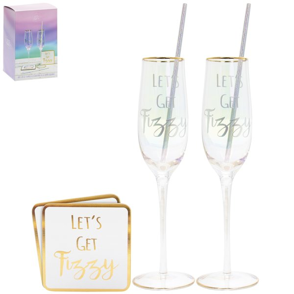 FLUTES/COASTERS 2 SET