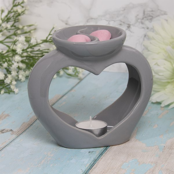 WAX/OIL WARMER HEART TWIN GRY