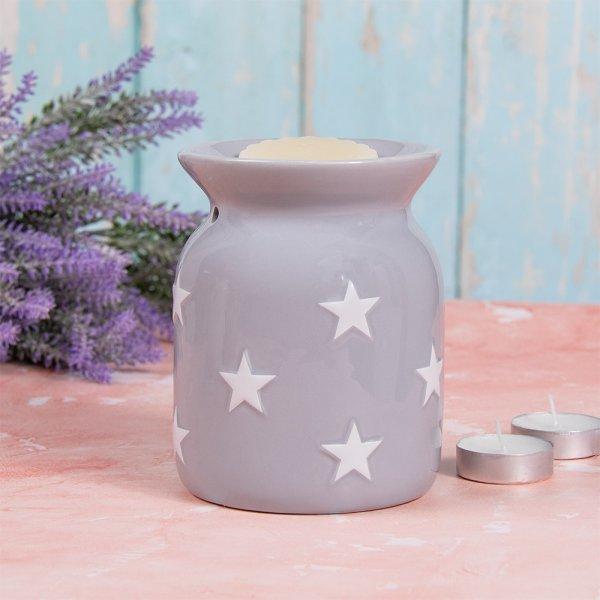 GREY & WHITE STARS WAX WARMER