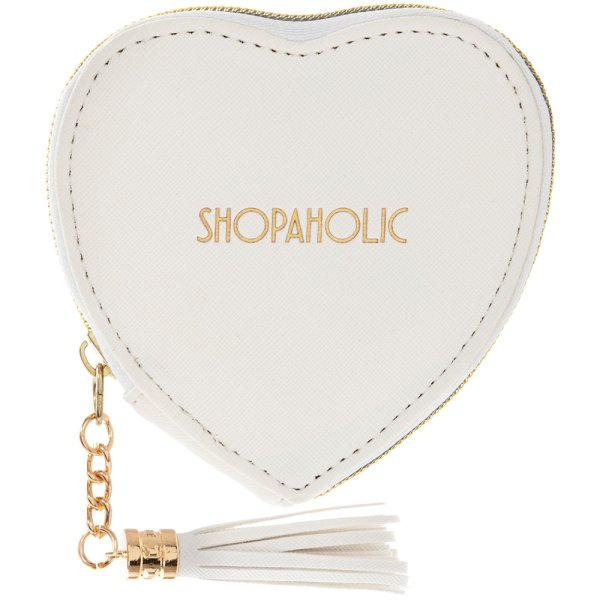 HEART PURSE SHOPAHOLIC WHITE