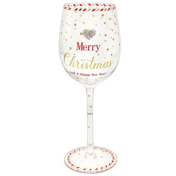 MAD DOTS XMAS WINE GLASS