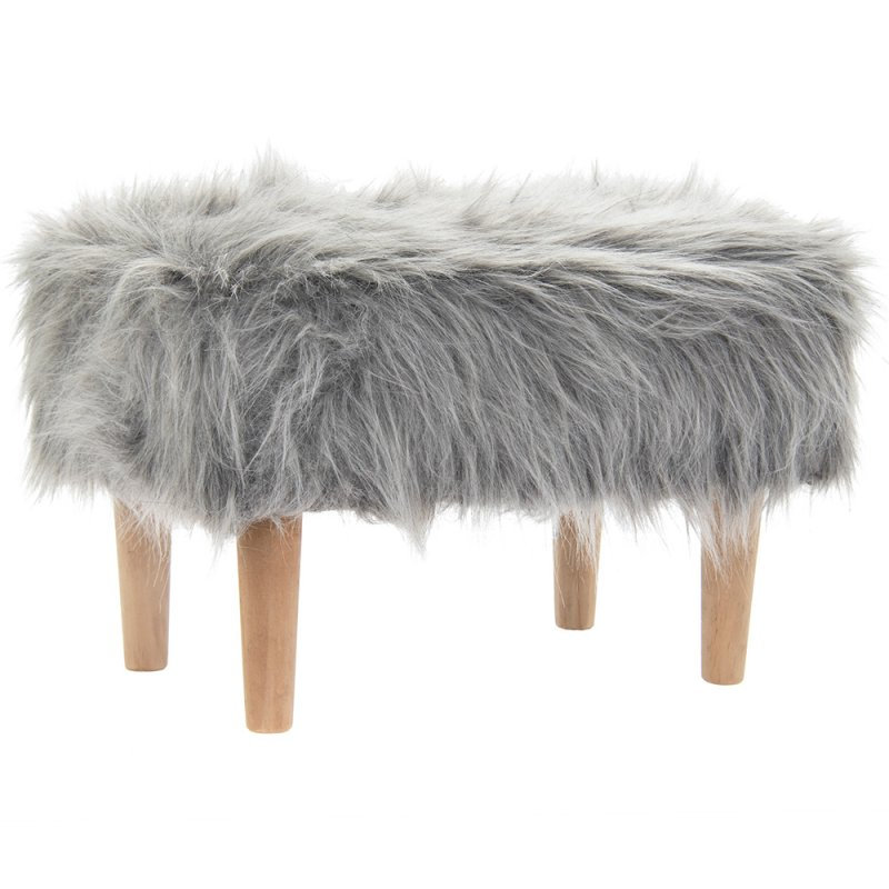 GREY FURRY STOOL RECTANGLE