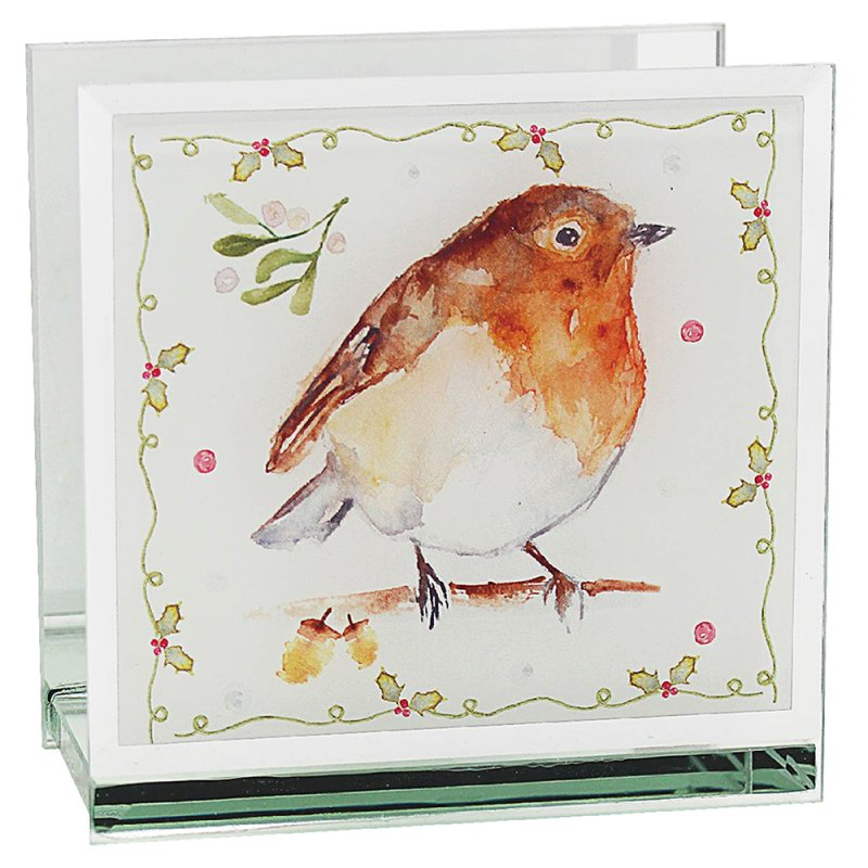 WINTER ROBINS TEA LIGHT HOLDER
