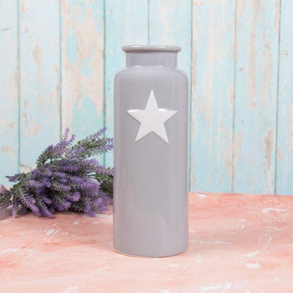 GREY & WHITE STAR VASE L