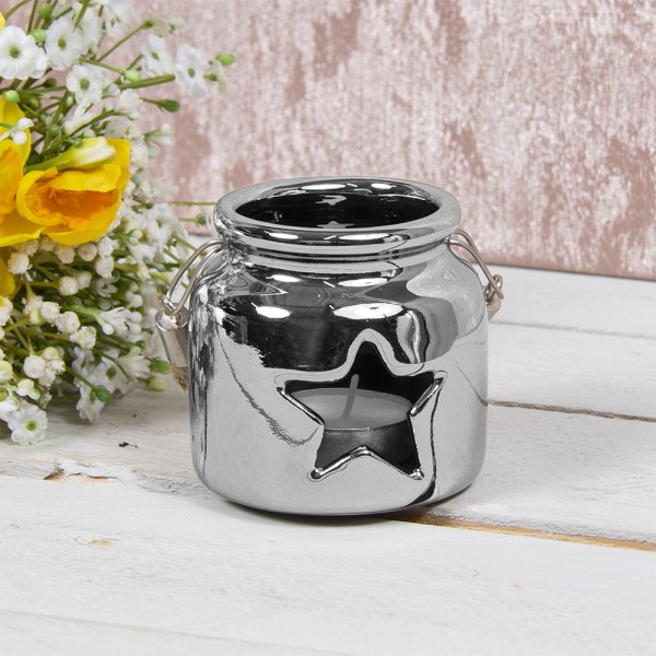 STAR CANDLE HOLDER SILVER 8CM