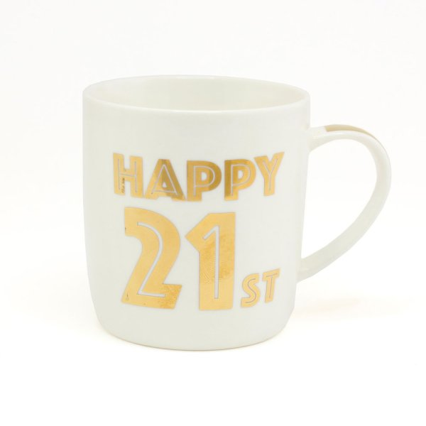GOLD HAPPY 21ST BIRTHDAY MUG