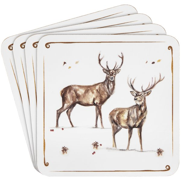 WINTER STAGS COASTERS 2 ASST