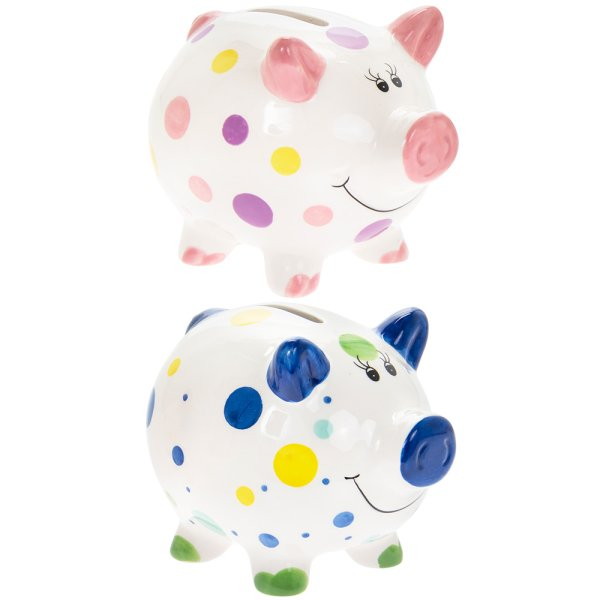 PIGGY MONEY BOX 2 ASST SML
