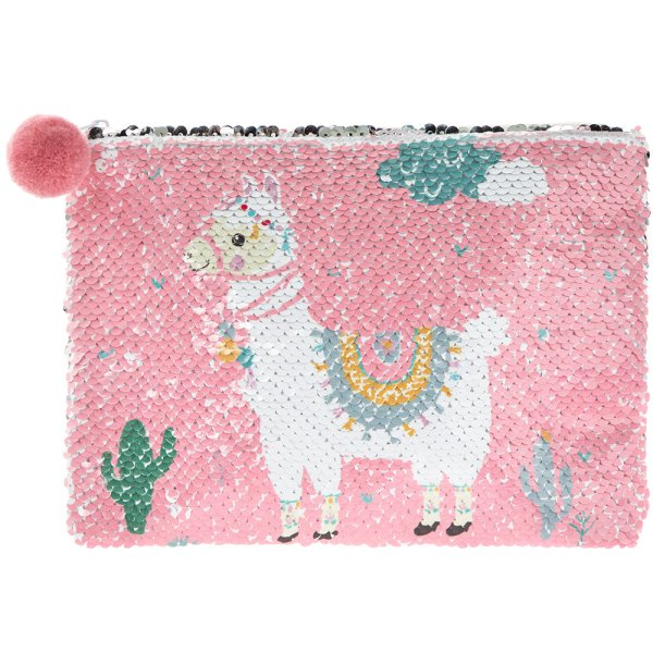 LLAMA SEQUIN COSMETIC POUCH