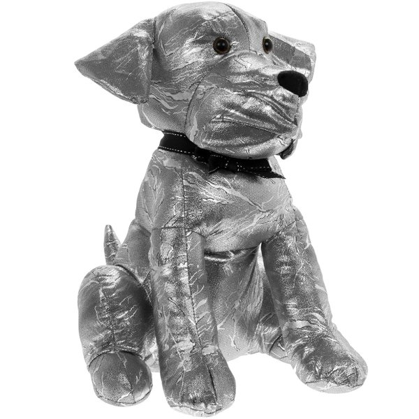 SILVER SPARKLE DOG DOORSTOP