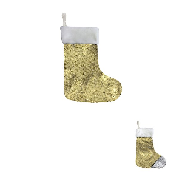 SILVER GOLD SEQUIN STOCKING