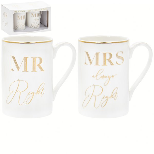GOLD MR/MRS RIGHT MUGS