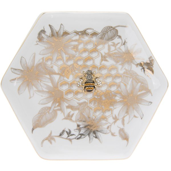 HONEYCOMB BEES DISH GOLD