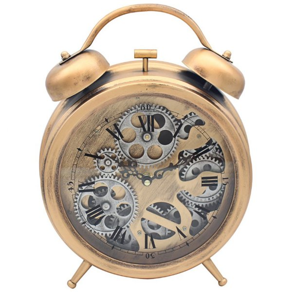 MANTEL COG CLOCK GOLD&SILVER
