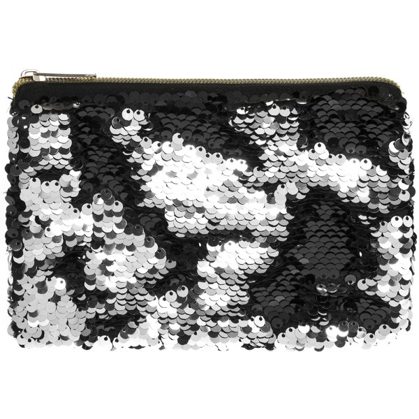 SEQUIN PURSE BLACK & SILVER