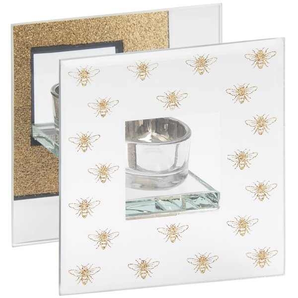 GLITTER BEES TEA LIGHT HOLDER