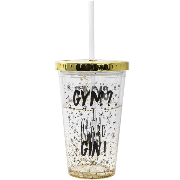 GOLD GLITTER GIN CUP W/STRAW