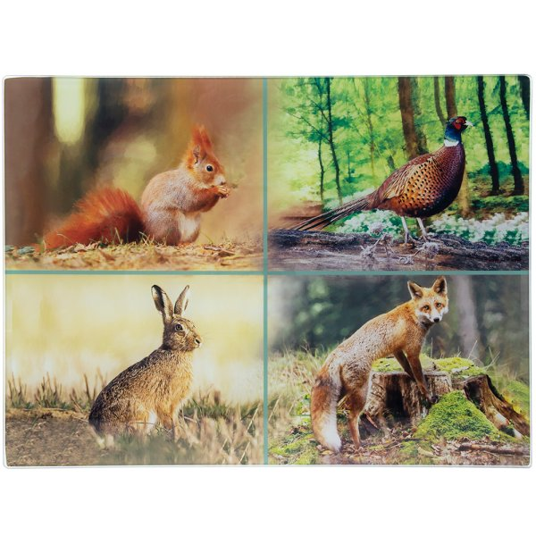 WILDLIFE GLASS CUTTING BOARD L