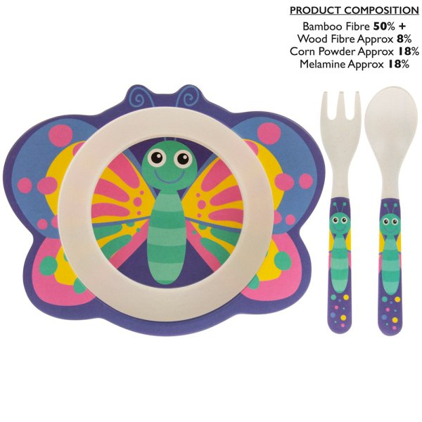 BAMBOO BUTTERFLY EATING SET