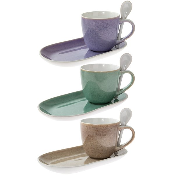 GLAZED MUG PLATE & SPOON 3A