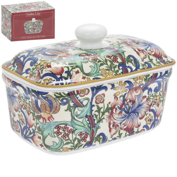 GOLDEN LILY BUTTER DISH