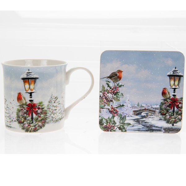 CHRISTMAS ROBINS MUG & COASTER