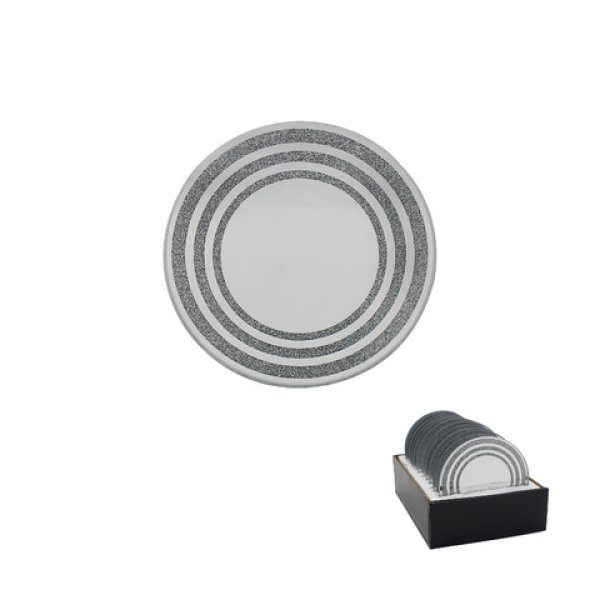 SILVER GLITTER CANDLE PLT 10CM