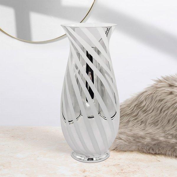 SILVER & WHITE VASE 42 cm