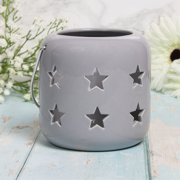 STARS LANTERN GREY 12CM